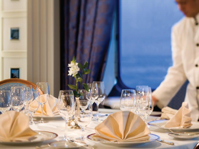 Service Table à bord du bateau de croisière Silver Shadow
