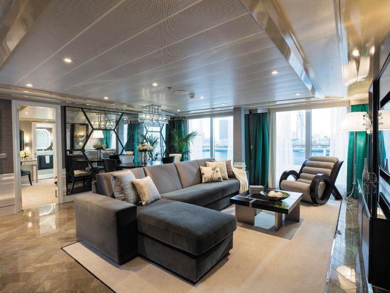 Salon Grand Suite du bateau de croisière Seven Seas Explorer