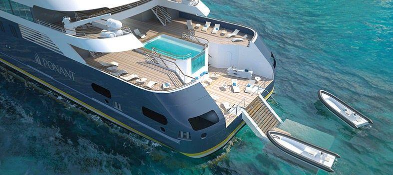 Vue du ciel de la piscine du bateau Le Jacques Cartier