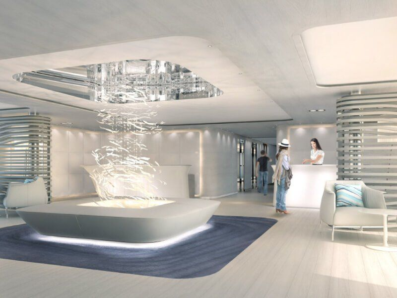 Lobby du bateau de luxe Le Lyrial
